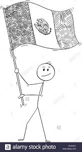 mexican flag waving drawing.  Mexican Cartoon Of Man Waving The Flag United Mexican States Or Mexico In Drawing O