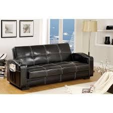 furniture of america colona black faux leather futon