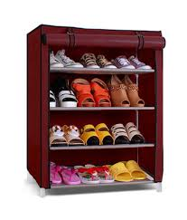 Pindia Fancy & Portable 4 Layer Maroon Foldable Shoe Rack Organizer