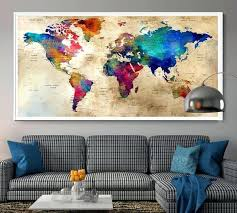 Large Us Map Poster Large World Map Wall Art Poster Push Pin Mymap Gold Scratch