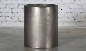 handmade 20 round industrial style side table handcrafted from iron with hammered detailing and drum