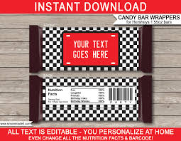 Race Car Hershey Candy Bar Wrappers | Personalized Candy Bars