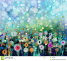 abstract flowers dandelion watercolor painting