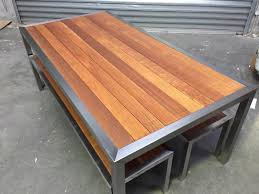 stainless steel outdoor table with bench seats doreen nillumbik area image 2 1 of 8