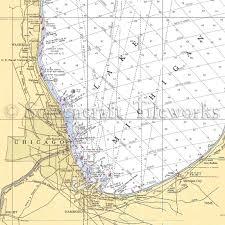 Lake Michigan Nautical Chart Illinois Chicago Il Gary In Michigan City In Nautical Chart Decor
