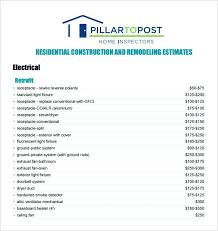 Construction Estimate Template Building Sample Form Free Estimating