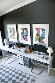 double desk home office. double desk home office and play area in one u2014 ikea micke desks tobias chairs benjamin moore kendall charcoal gray walls w