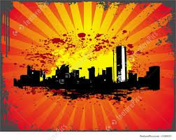 theme urban grunge urban city theme in orange color stock illustration