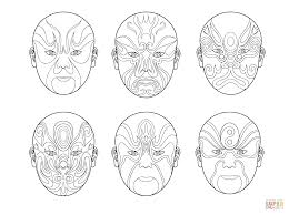 Small Picture Chinese Opera Masks coloring page Free Printable Coloring Pages