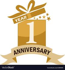 Anniversary Ribbon 1 Years Gift Box Ribbon Anniversary Royalty Free Vector
