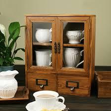 Retro Design Wooden Zakka Storage Chest Cabinet with Glass Door and ...