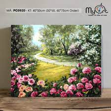 Tranh tự tô màu theo số sơn dầu số hóa Myart - Tranh phong cảnh vườn hoa  trong rừng mùa xuân PC0920