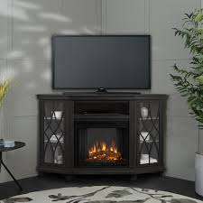 corner electric fireplace in gray