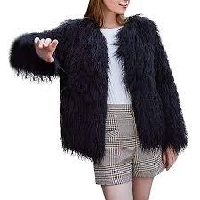 Amazon Com Womens Faux Fur Coat Kangma Long Sleeve Warm