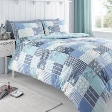 king size classic molly blue fl reversible patchwork duvet set