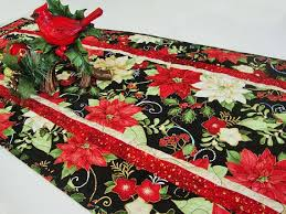 table runner benartex happy holidays poinsettia