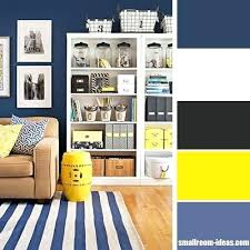 blue and yellow living room grey