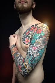 Animals Tattoo With Dragon And Japanese