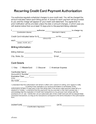 form templates credit card authorization recurring payment