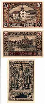 Германия нотгельды remda Ремда год банкноты серия  Германия нотгельды remda Ремда 1921 год 3 банкноты серия контрольный номер черный