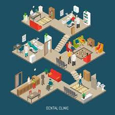 Doctor Office Design Gorgeous Dental Practice Clinic Building Isometric Composition Poster