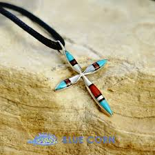 indian jewelry turquoise onyx c shell pendant necklace cross pendant top silver 925 ズニレディース lucky charm good luck talisman against evil native