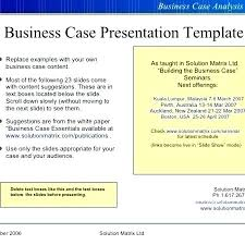Format For Presentation Of Project Free Business Case Presentation Template Examples Awesome Sample
