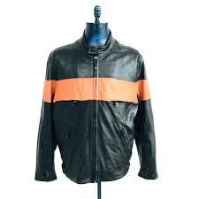 details about wilsons leather black orange leather biker motorcycle jacket mens size xl