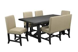 Living Spaces Dining Table Set Jaxon 6 Piece Rectangle Dining Set W Bench Uph Chairs Dining Sets