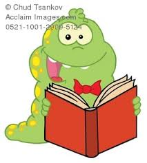 royalty free clip art image cartoon bookworm excited about reading a book