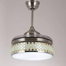 36 92cm retractable blade folding ceiling fan light 3 led colours remote