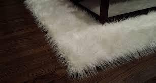 handmade mongolian white faux fur accent area rug salvani inc