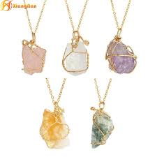 whole fashion crystal pendant necklaces natural stone pendants sweater chain clavicle necklace for women raw amethyst jewelry gold chains diamond
