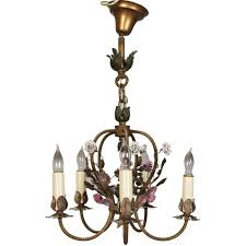 french five light brass chandelier with porcelain flowers for