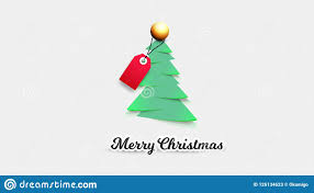 Realistic Paper Christmas Tree With Sale Tag Vector