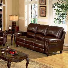 Two Tone Living Room Furniture Charlotte Leather Reclining Sofa Manual Pushback Reclining