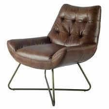 details about retro mid century modern leather metal lounge chair brown leather