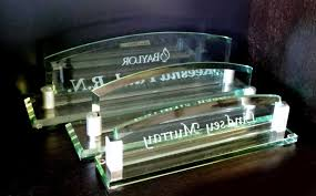 personalized glass arch desk name plate crystal images inc for popular household custom desk name plates remodel