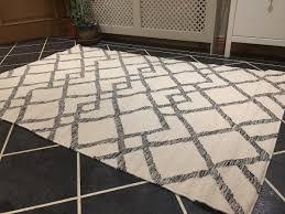 tangier grey white geometric wool kilim rug grey