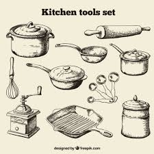 Hand Drawn Kitchen Tools Set Vector Free Download