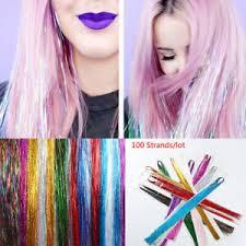 Weitere ideen zu bunte haare, haarfarben, regenbogenfarben. Party Tinsel Fur Haare Seide Haar Verlangerung Glitter Regenbogen Farben Ebay