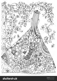 Small Picture girl in a floral dress doodle flowers tree zen coloring page