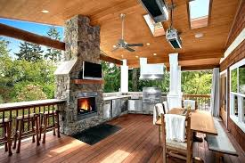 patio covered with fireplace