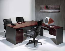 Minimalist Computer Desk Concept In Modern Style With Glossy Maroon Top