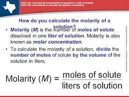 Concentration Of Solutions Teks 10c Calculate The Concentration Of Solutions In Units Of
