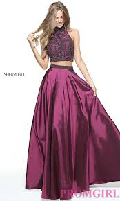 Cherry Hill Designer Dresses Sherri Hill Two Piece Prom Dress With Beaded Top Plum Prom