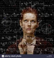 stock photo woman trying to solve mathematical equation