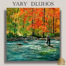 nature yary dluhos fly fishing angler casting river autumn original modern oil painting
