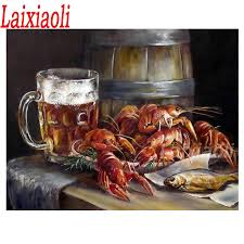 Lobster and Beer Diamond Embroidery ...