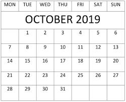 Calendar Doc October 2019 Calendar Template For Google Sheets Free